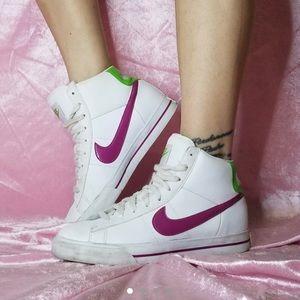 Nike Pink Raspberry and limeade Nike high Tops